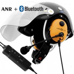 Węglowy kask paralotniowy do PPG z łącznością przewodową, Bluetooth i aktywnym tłumieniem
